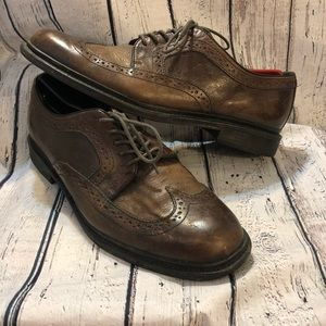 Aston Grey Men's Wingtip Leather Shoes 9.5 Brown